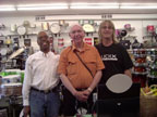 Kenne Thomas, Canadian teacher, author, drummer, Owen Clark and Tim Ellis of Ellis Drum Shop, St. Paul, MN